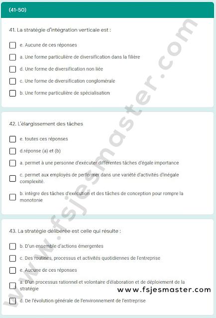 Exemple Concours Master Management Stratégique des Ressources Humaines (MSRH) 2021-2022 - Fsjes Agdal
