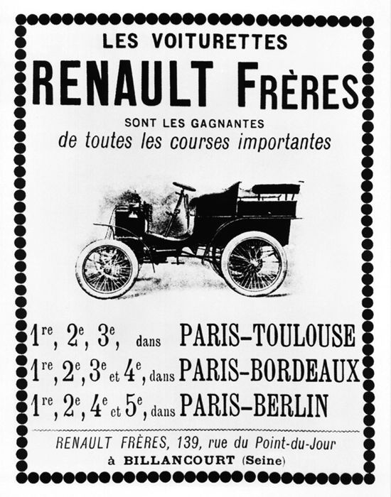 Renault Type A voiturettes advertisement 1901
