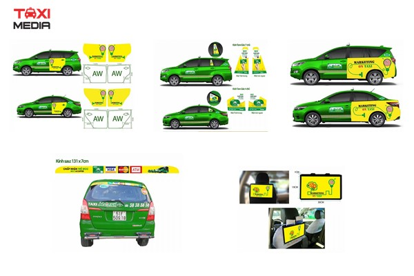 Vị trí dán quảng cáo trên xe taxi