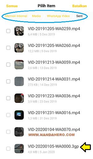 kenapa video yang dikirim di WA tidak tersimpan