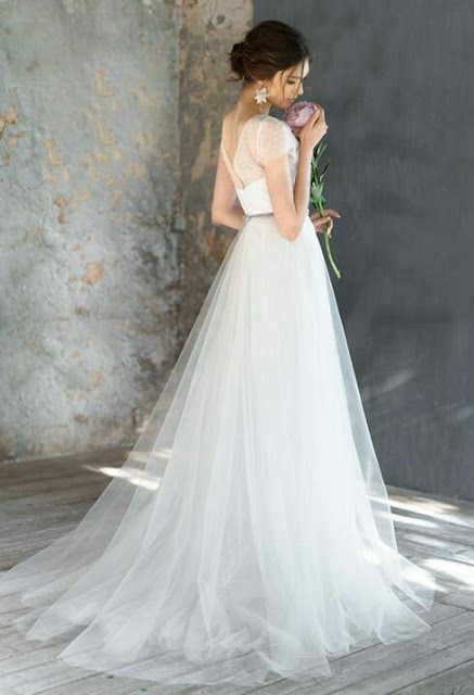 Tulle white wedding Dress