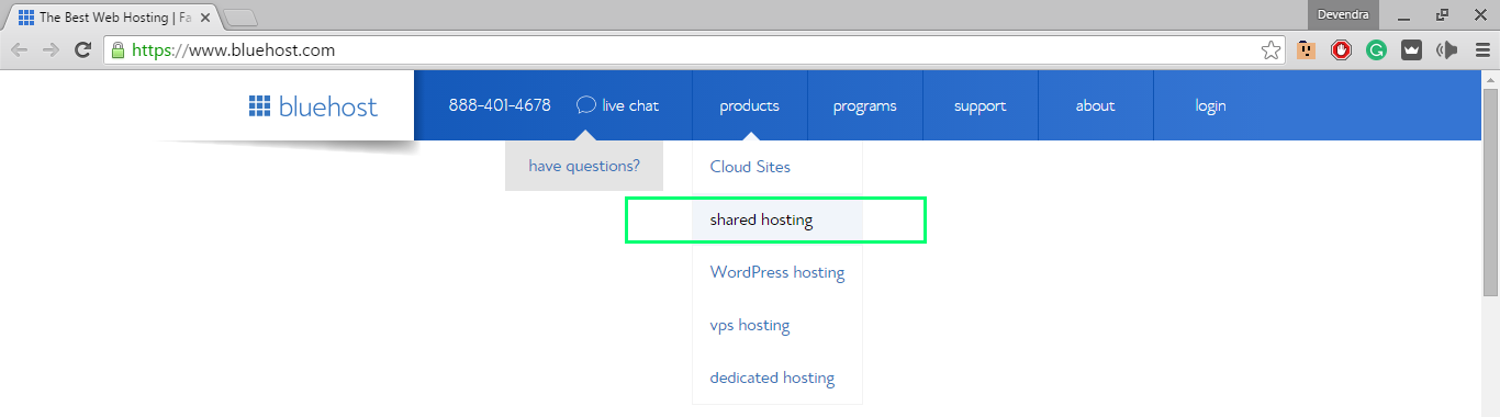 choosing bluehost shared hosting