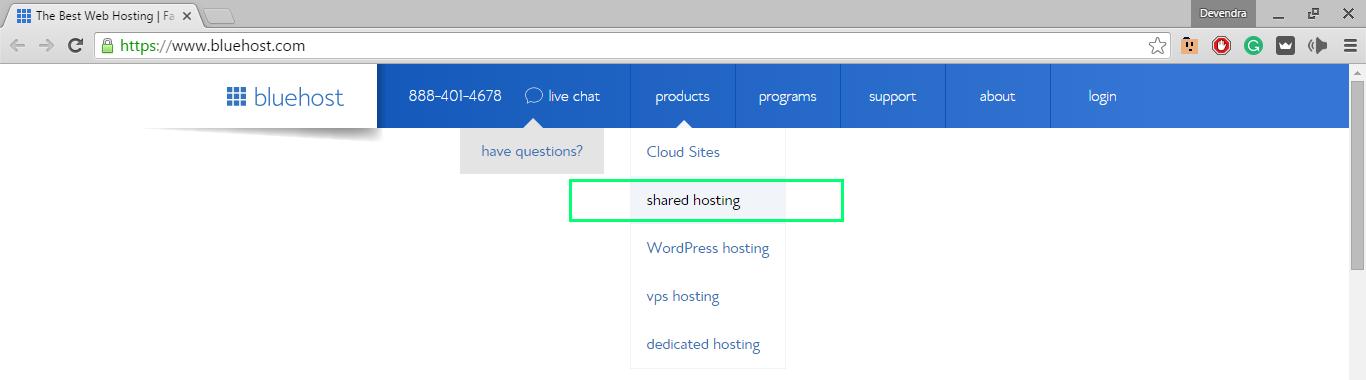 choosing bluehost shared hosting