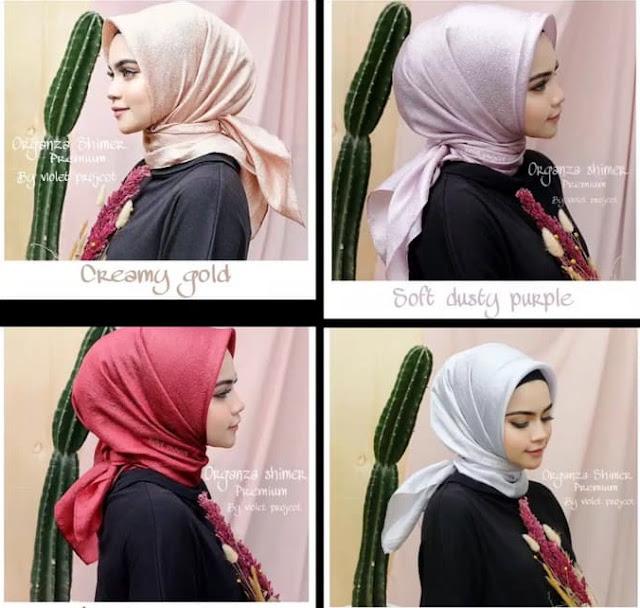 Jilbab Segi Empat Pesta Organza Pilihan Warna