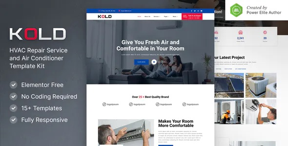 Best Air Conditioner & HVAC Repair Service Elementor Template Kit
