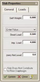 Slab Properties Dialog Box showing load properties