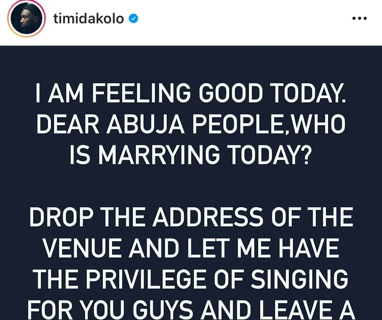 Timi Dakolo crashs weddings in Abuja to perform for free