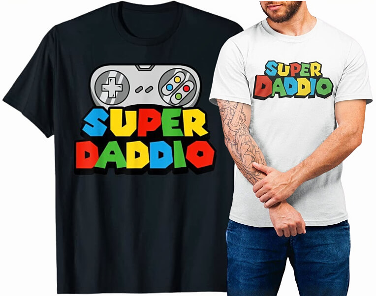 Two T-shirts with Super Daddio (Mario) Logo