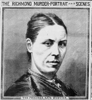 Black and white printed newspaper illustration (drawing) portrait of a woman in Victorian dress, hatless, with severe hairstyle and serious expression looking directly at the viewer. Captions read 'The Richmond Murder: Portraits and Scenes' and 'The prisoner, Kate Webster'.