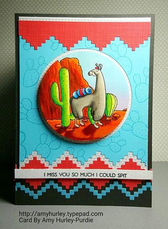 Llama Love stamp set and Stepped Up Chevron Die-namics - Amy Osborn Purdie #mftstamps