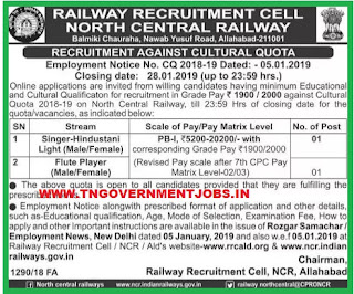 north-central-railway-cultural-quota-jobs-tngovernmentjobs-in