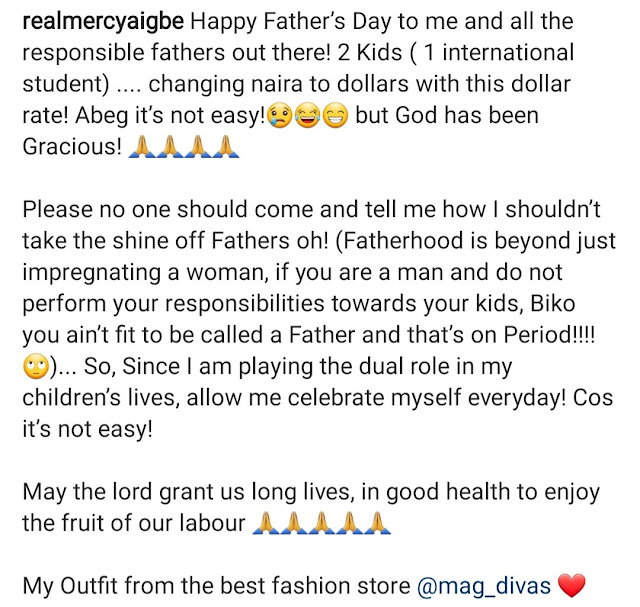 Fatherhood is not Impregnanting a Woman, but perform your duties- Mercy Aigbe celebrates Father's day with her kids