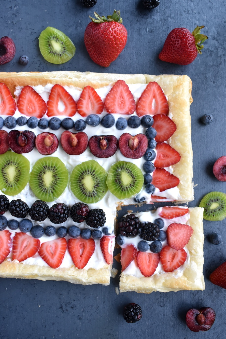 Greek Yogurt Fruit Pizza features a flaky puff pastry crust, vanilla Greek yogurt filling, fresh berries and kiwi for a healthier dessert option that is perfect for any party!