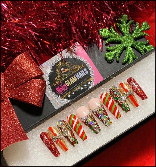 Christmas Nails Christmas  Press On Nails christmas party nails decorating nails christmas themed nails