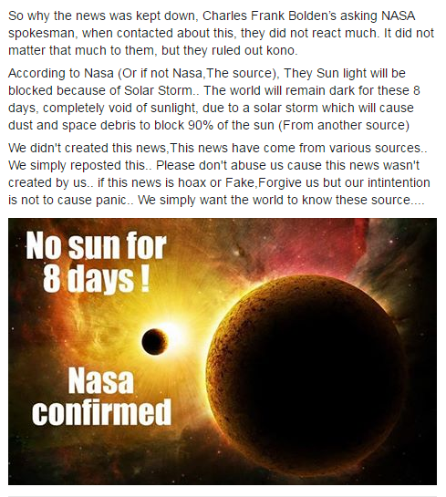 Netizens claimed that NASA confirmed that total darkness will happen on June 2016! Must Read!