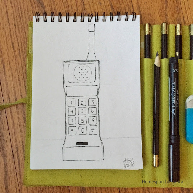 homespun by laura daily doodle pen drawing vintage cell phone saved by the bell zack morris