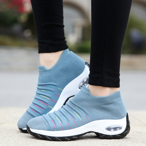 Women's air cushion flying woven sneakers - Blue