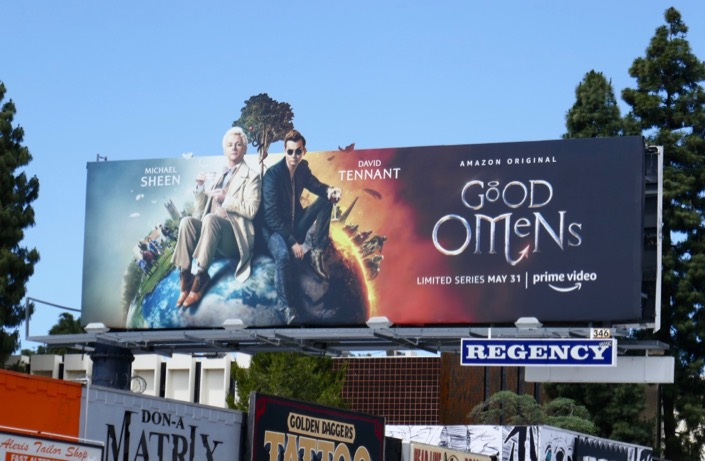 Good Omens extension cutout billboard