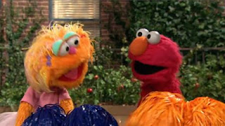 Zoe as a cheerleader and Elmo likes this and he wants to be a cheerleader too. Sesame Street Episode 4420, Three Cheers for Us, Season 44