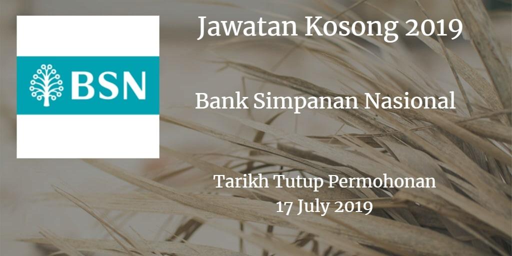 Jawatan Kosong BSN 17 July 2019