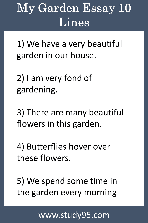 10 Lines on My Garden