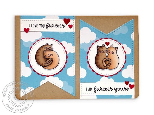 Sunny Studio Blog: I Love You Furever Punny Kitty Cat Valentine's Day Card (using Meow & Furever Stamps, Slimline Pennant Dies, Scalloped Circle Mat 1 Dies, Stitched Circle Small Dies & Dies & Spring Fling Cloud Paper)