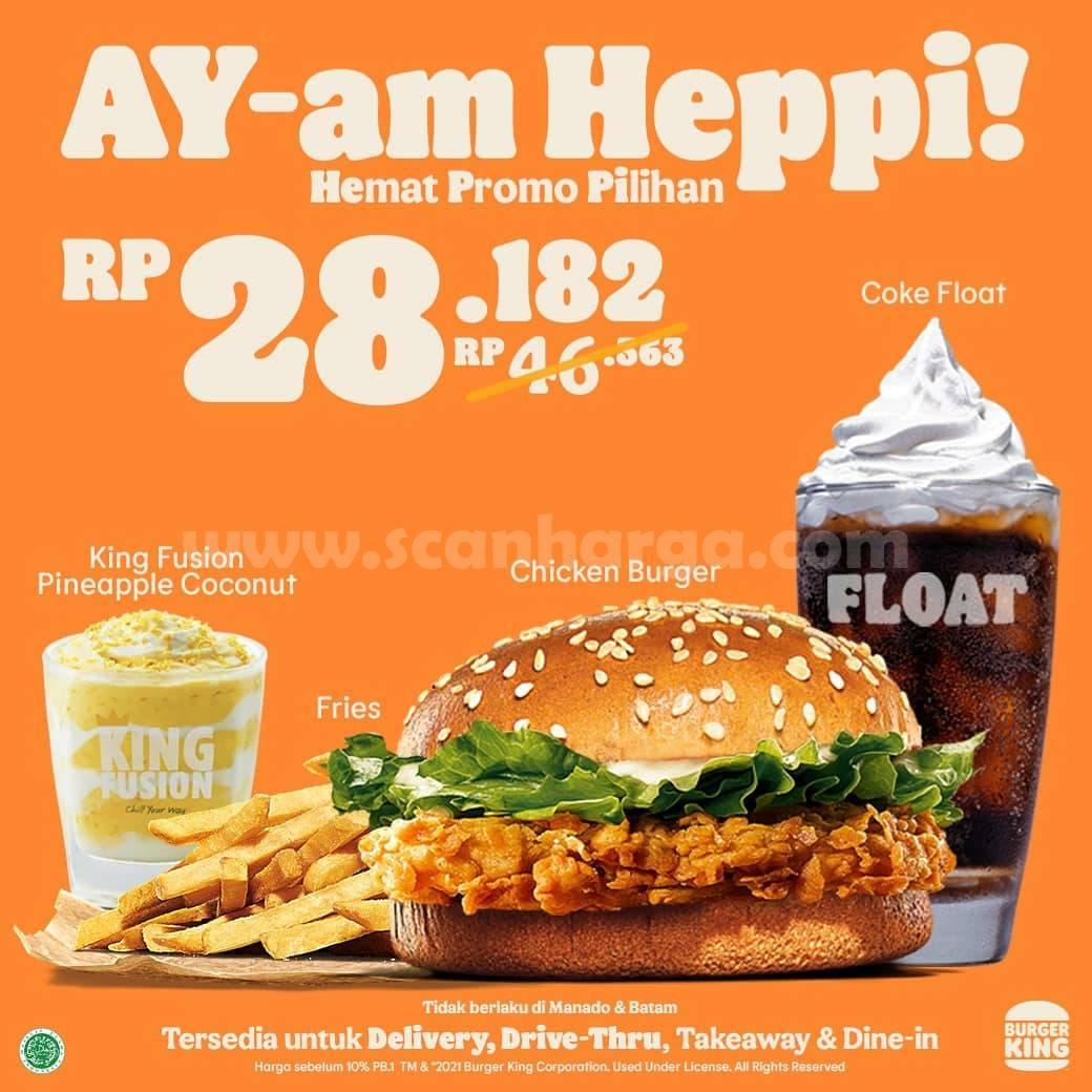 Promo BURGER KING AYam Heppi! Hemat Harga Pilihan mulai Rp. 28.182