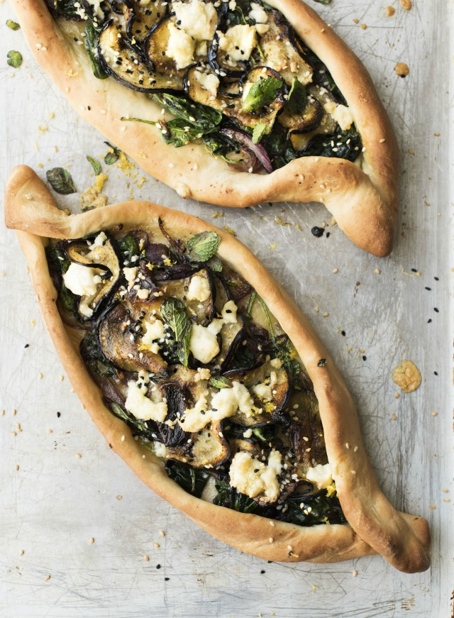 Turkish Pide with spinach & aubergine recipe from Jo Pratt's Flexible Vegetarian