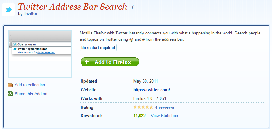 Official Twitter Search Bar Firefox Add-On