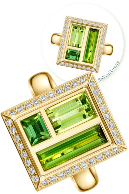 Andrew Geoghegan Chocolate Box Envy lush green tourmalines diamond ring #brilliantluxury