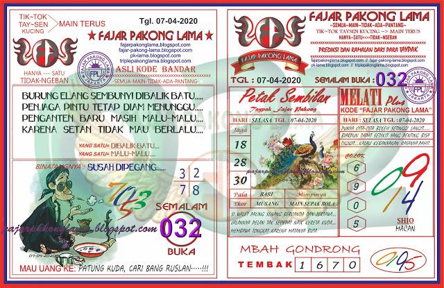 Prediksi HK Selasa 07 April 2020 - Fajar Pakong Lama