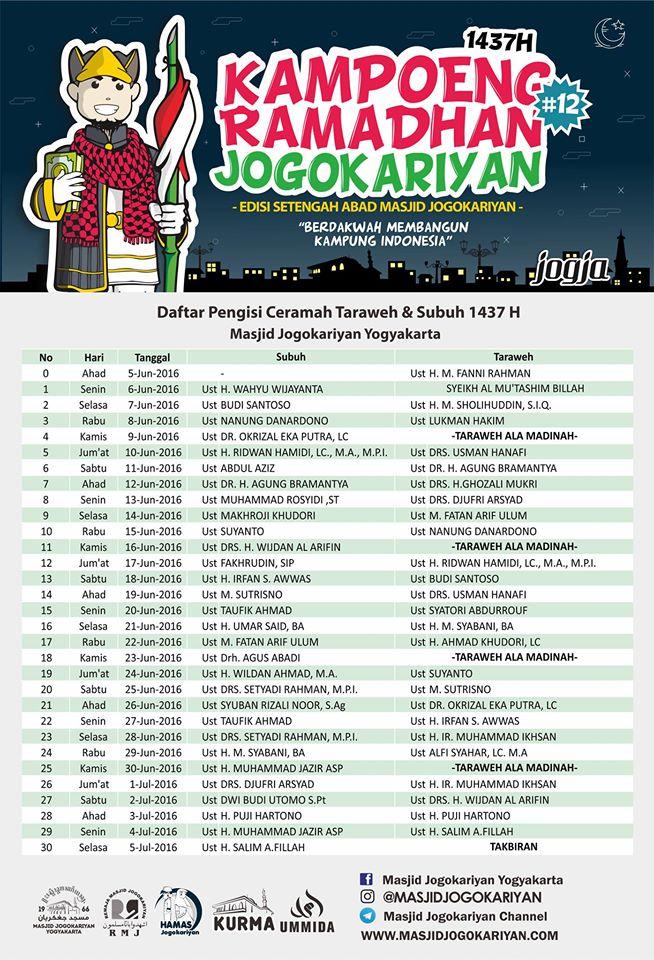 Jadwal Pengisi Ceramah Ramadhan 1437 H Di Masjid Jogokariyan
