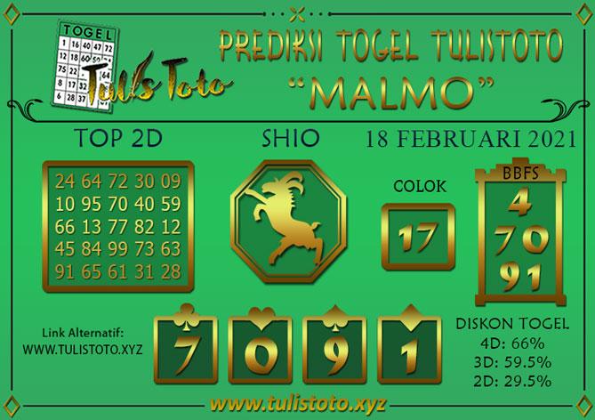 Prediksi Togel MALMO TULISTOTO 18 FEBRUARI 2021