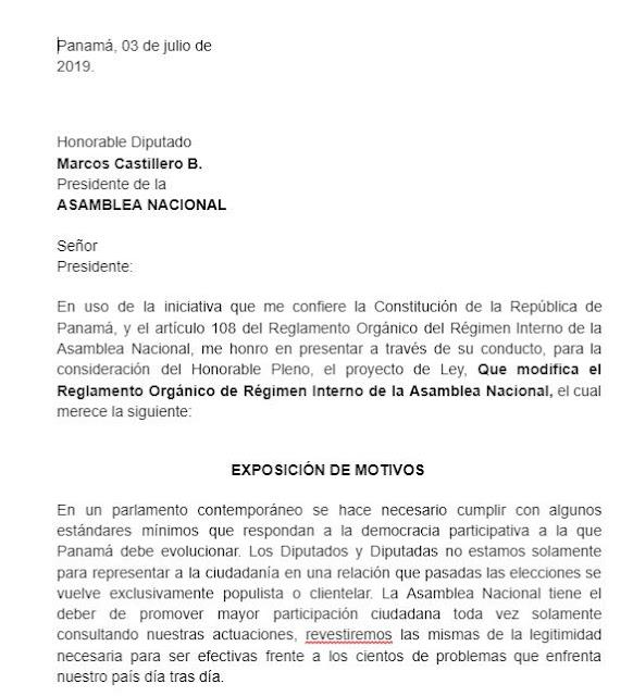Anteproyecto de Ley, que reforma el Reglamento Orgánico del Régimen Interno de la @asambleapa