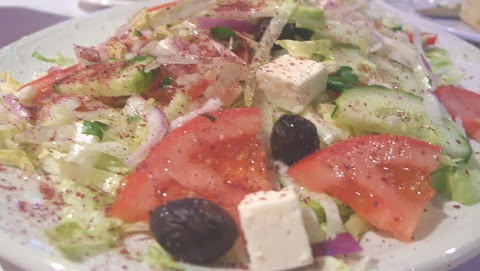 Spicy Salad with Feta Cheese and Olives