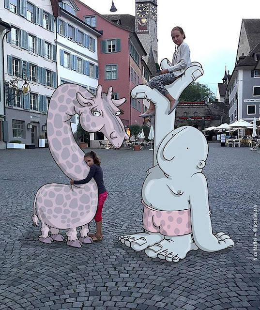 foto unik lucu kreatif dan inovatif foto asli yang dipadukan dengan kartun-20