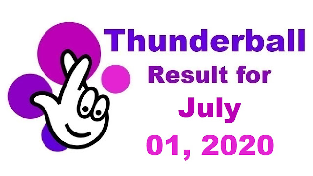 Thunderball Results for Wednesday, July 01, 2020