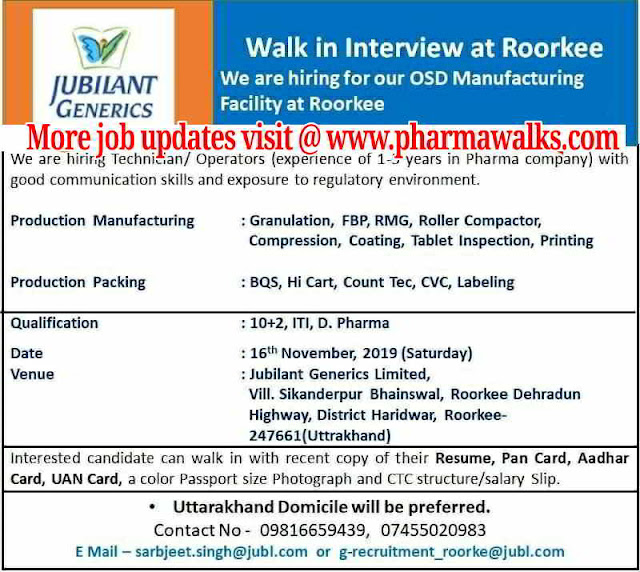 Jubilant Generics walk-in interview for multiple positions on 16th November, 2019