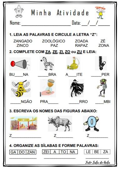 ATIVIDADE DE EDUCAÇÃO INFANTIL LETRA Z