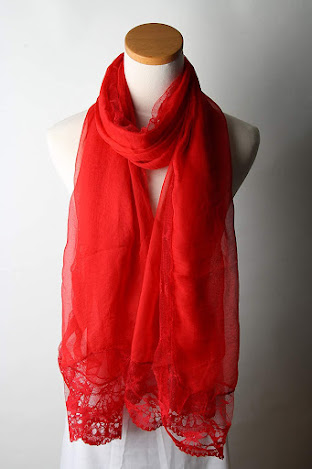 Red Chiffon Scarves with Lace