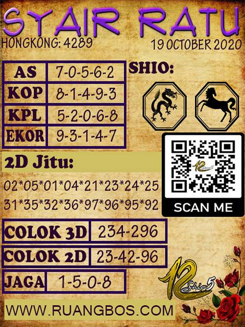 Kode syair Hongkong senin 19 oktober 2020 229
