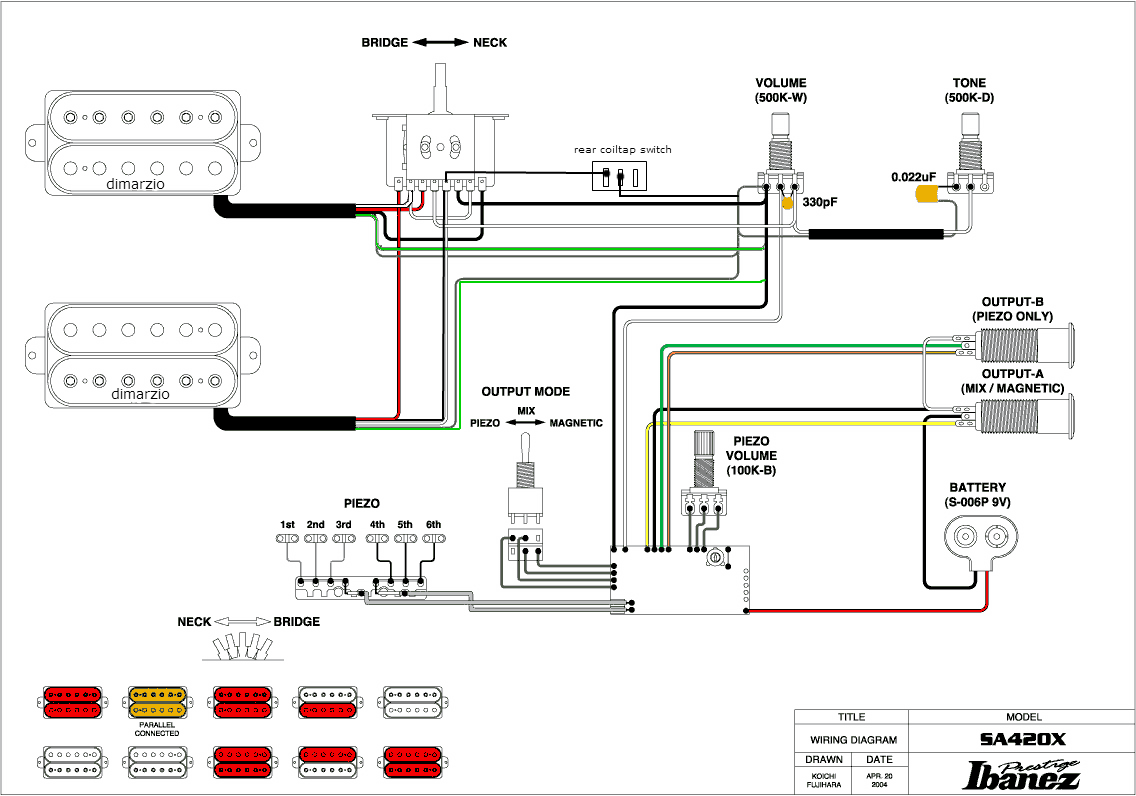 Dimarzio 7 String Wiring Diagram 一応メモしておきました Ibanezのギターsa420のピックアップ交換&配線図