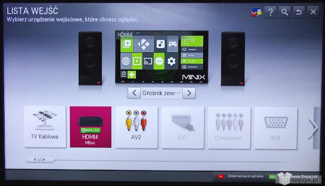 Minix Neo U1 rozpoznany współpracujący z technologią Simplink w telewizorach LG