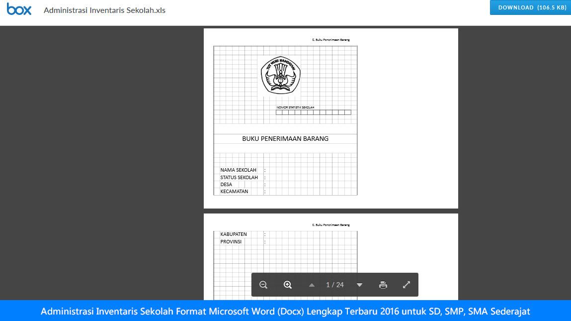 Administrasi Inventaris Sekolah Format Microsoft Word (Docx) Lengkap Terbaru 2016 untuk SD, SMP, SMA Sederajat
