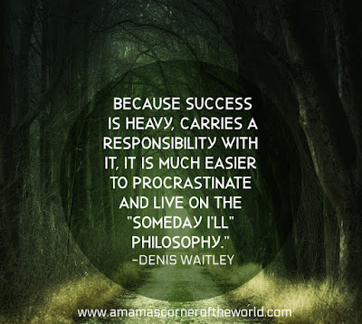 Pinnable image of a forest path with a quote about fear of success