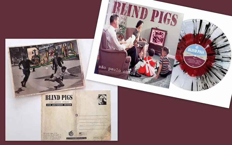"""Há 25 anos, a banda punk rock paulista Blind Pigs lançava o álbum de estreia, """"São Paulo Chaos"""", pela gravadora Paradoxx Music. O disco produzido pelo ex-baterista do Bad Religion, Jay Ziskrout, também foi lançado pelo selo Grita! nos EUA, Europa e Japão."""