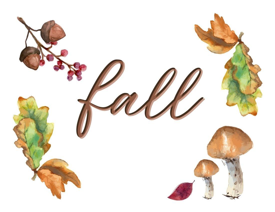 printable fall leaves, acorns, berries and mushrooms
