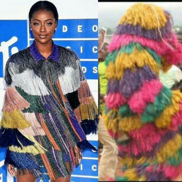 Wizkid's alleged bae Justine Skye's outfit compared to Enugu masquerade