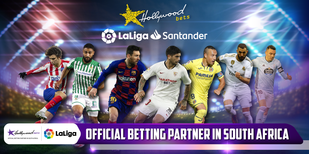 Seven LaLiga players on Hollywoodbets artwork announcing LaLiga partnership