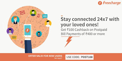 This time, pay your Postpaid bill online at FreeCharge and get Additional Rs.100 Cashback on bill payment of Rs.400 or more